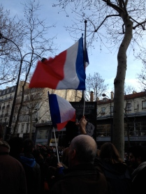 Flag-waving at the rally following the Charlie Hebdo attacks
