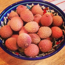 Lychees in a bowl I brought back from Israel