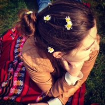A decided to decorate my hair with flowers